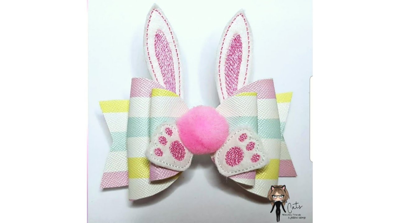 Easter Rabbit Faux Leather Bow