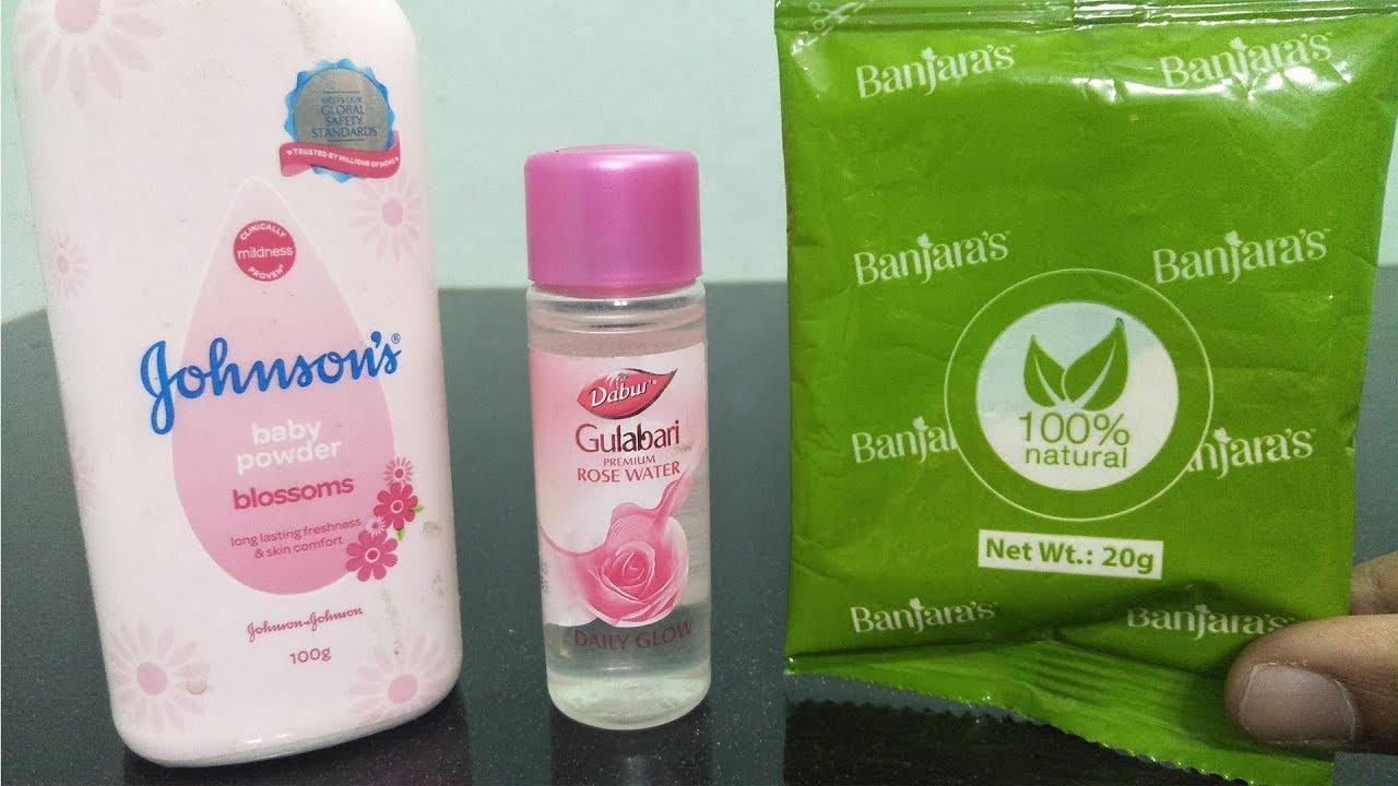 ROSEWATER MULTANI MITTI & JOHNSON BABY POWDER APPLY ON FACE To Stop Oily Skin Beauty Tips- DIY H