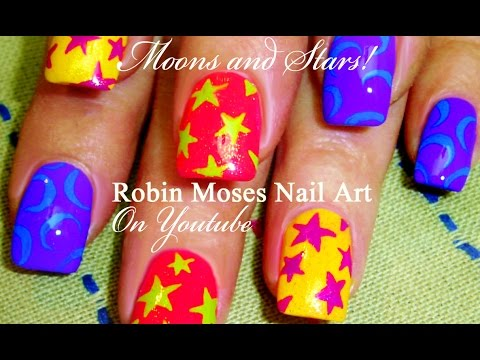 Stars and Moons Nail Art! | Cute Rainbow Nail Art for beginners!!!