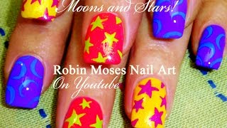 5 Nail Art Tutorials | Easy Nail Art for Beginners!!! | DIY Stars and Moons!