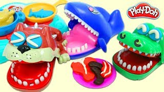 Cooking Play Doh Meals for Toy Bulldog, Alligator, and Shark Using the Sizzling Stovetop Playset!