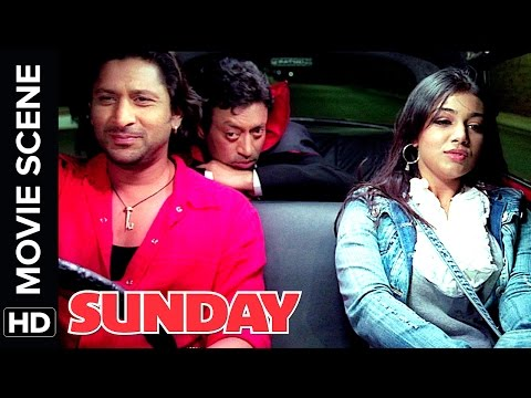 Arshad Warsi and Irrfan Khan give lift to drunk Ayesha Takia | Sunday | Movie Scene | Comedy