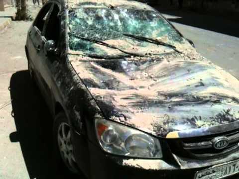 اثار القصف العنيف  على النبك تدمير احد سيارات المدنين