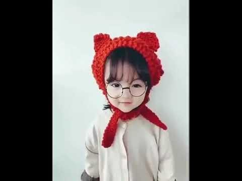 [VIDEO] - wool hat earmuffs winter warm cute girl kids beautiful cat ears knit lace earmuffs children hat 2