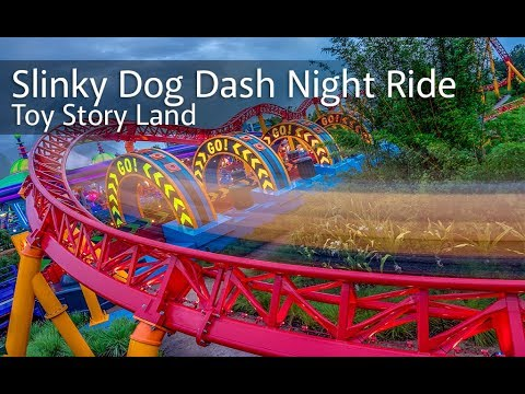 Toy Story Land's Slinky Dog Dash HD 60FPS Night Ride