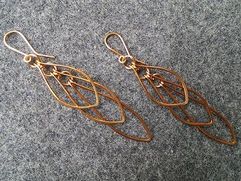how to make Leaves earring - handmade copper jewelry 222