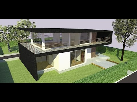 Sketchup speed build modern house youtube for Modern house sketchup