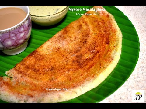 Mysore Masala Dosa recipe | South Indian மசாலா தோசை | Potato Stuffing | Red Chutney