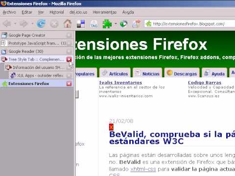 Extensiones Firefox - Tree Style Tab