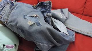 Como fechar os rasgos da calca jeans sem parecer remendo