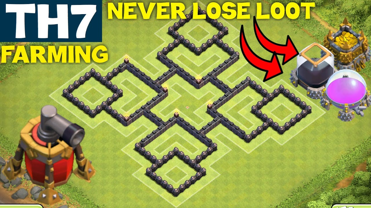 Clash Of Clans Best Th7 Farming Base Town Hall 7 Anti Everything Air Sweeper Clash Of Clans Youtube