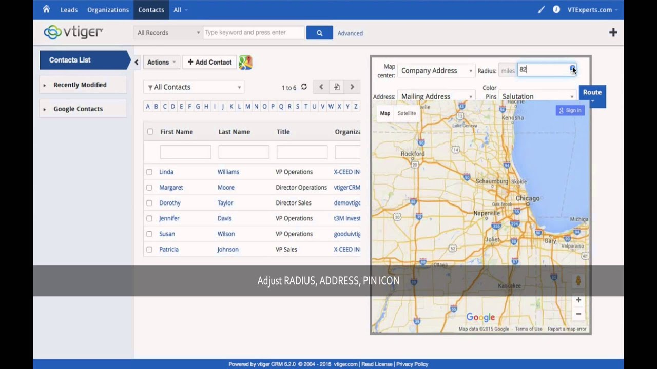 Vtiger Google Maps Routes Directions Integration By
