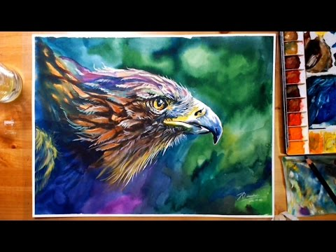 How to draw Colorful Eagle - Watercolor Speed Painting