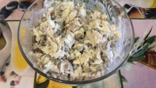 Салат с куриной грудкой и солеными огурчиками  09/01/2017