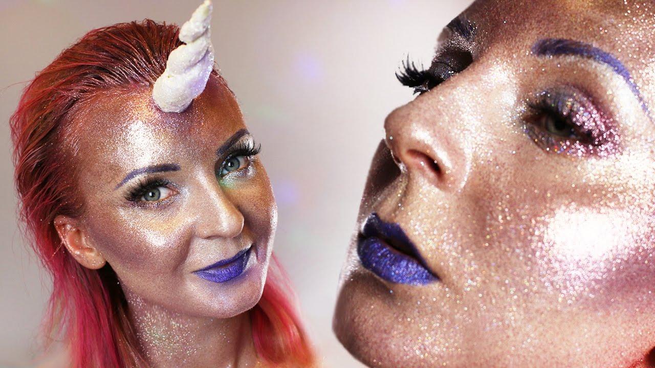 Full Face Using Only Glitter Challenge I Makijaż Na Jednorożca I