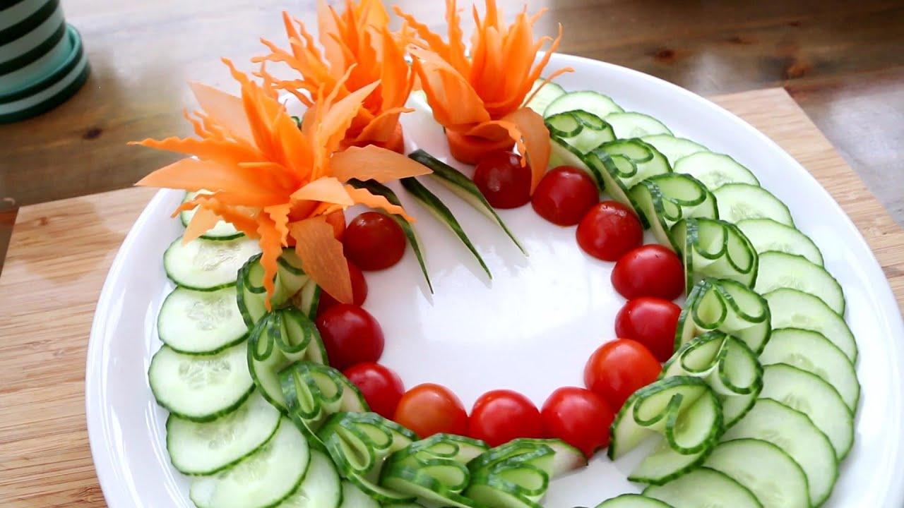 Beautiful Cucumber Garnish & Carrot Flower Design