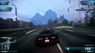 NFS Most Wanted 2012: Bugatti Veyron Vitesse Top Speed 280mph / 451 kmh [Ultimate Speed Pack DLC]