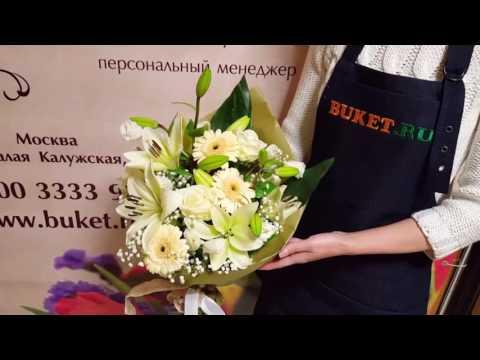 Букет из лилий, гербер и роз Белый день