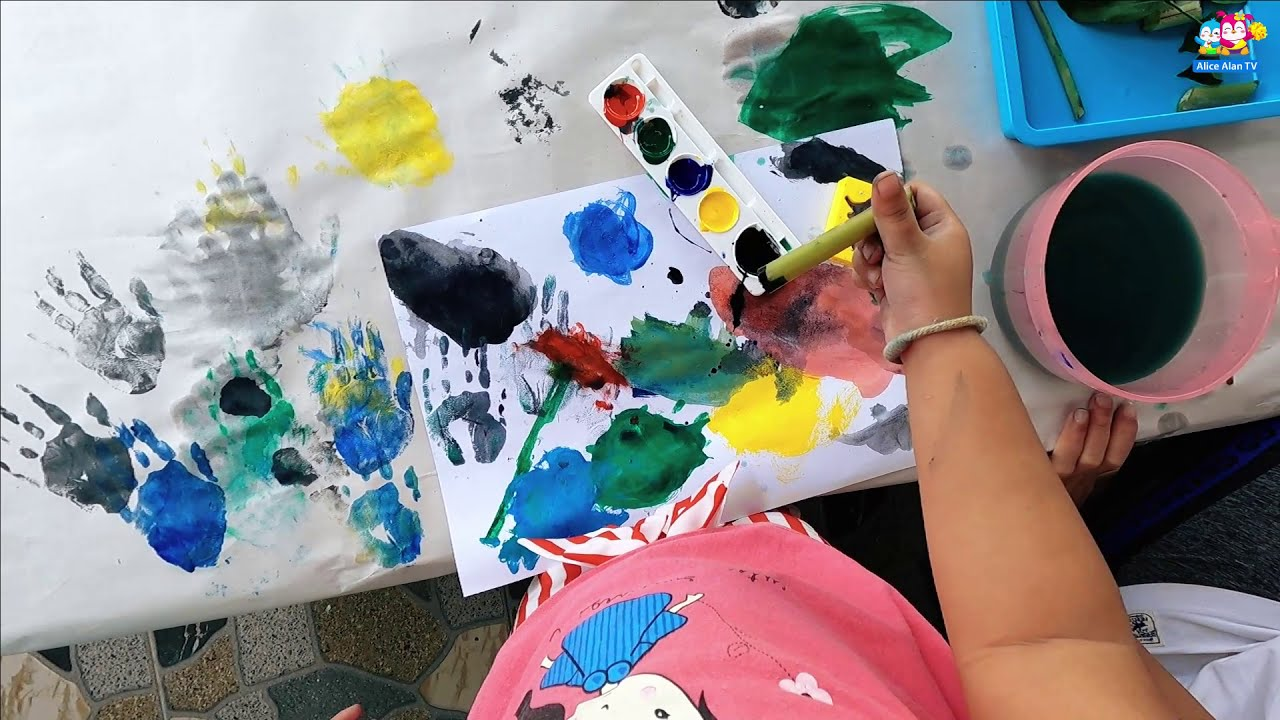 Hand Painting For Kids Easy Finger Painting Ideas For Kids Easy Hand Painting Ideas Youtube