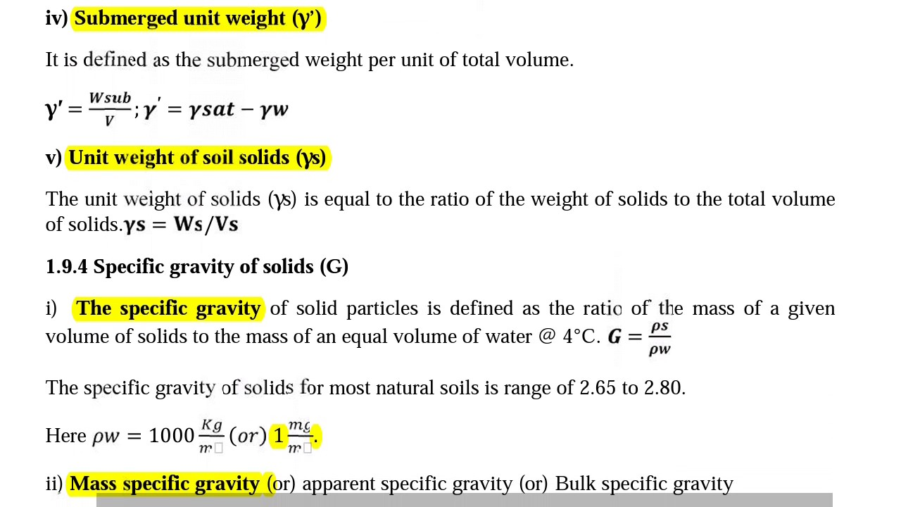 weight mass and volume relationship