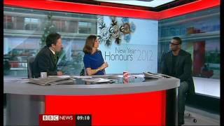 British Actor David Harewood (Homeland) talks about being awarded an MBE 31.12.11.