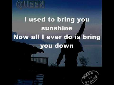Queen, Too Much Love Will Kill You, Onscreen Lyrics