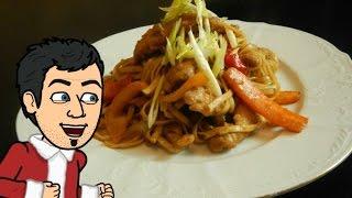 лапша с овощами и свининой по китайский от кулинарного Шоу Жарь Пей