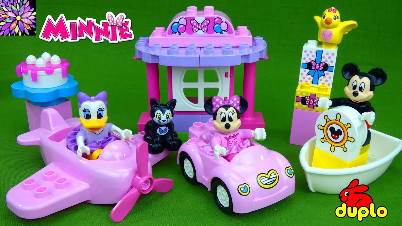 Minnie Mouse Birthday Party Duplo Play Set Mickey Boat Plane Car Daisy Duck Girls Toys Video