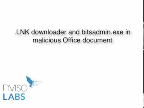LNK downloader and bitsadmin exe in malicious Office document