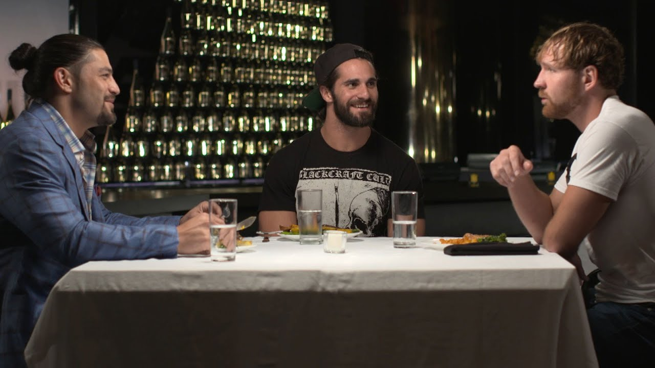 the shield recall their debut over dinner on table for 3 wwe network exclusive youtube. Black Bedroom Furniture Sets. Home Design Ideas
