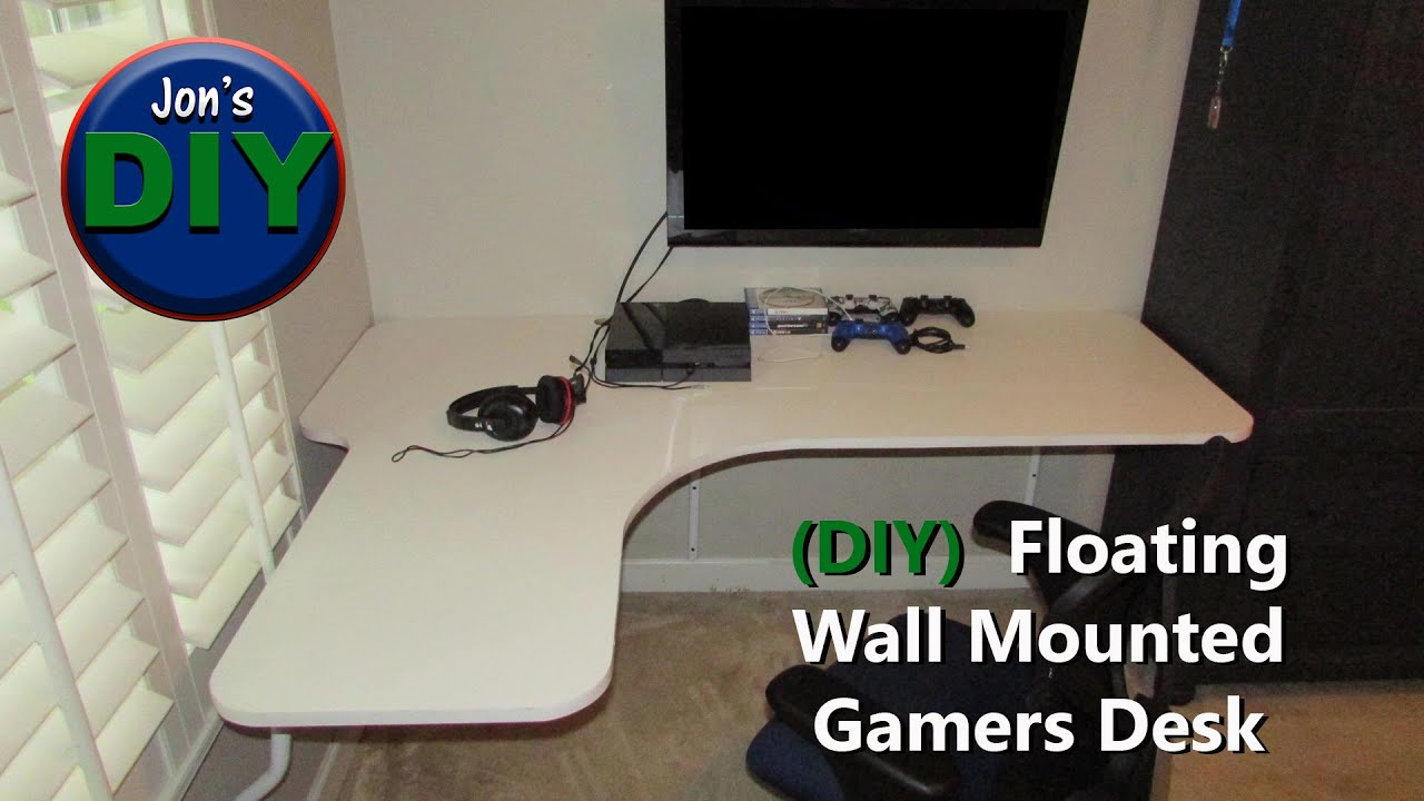 Floating Wall Mounted Corner Desk DIY YouTube - Build corner computer desk