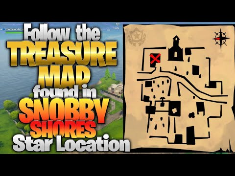 Follow The Treasure Map Found In Snobby Shores -  ACTUAL Treasure Map Hidden Star Location (Week 5)