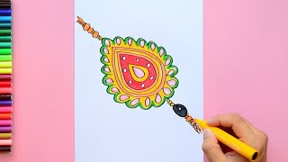 How to draw and color a Rakhi