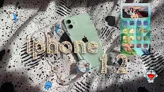 🍎📬 a package: green iphone12 unboxing + accessories (doraemon edition)