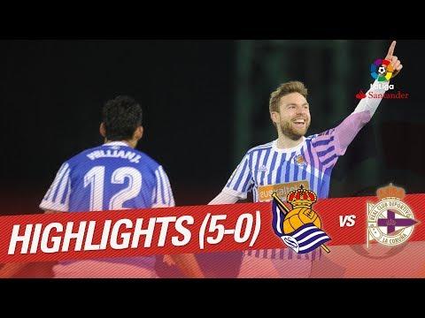 Resumen de Real Sociedad vs RC Deportivo (5-0)