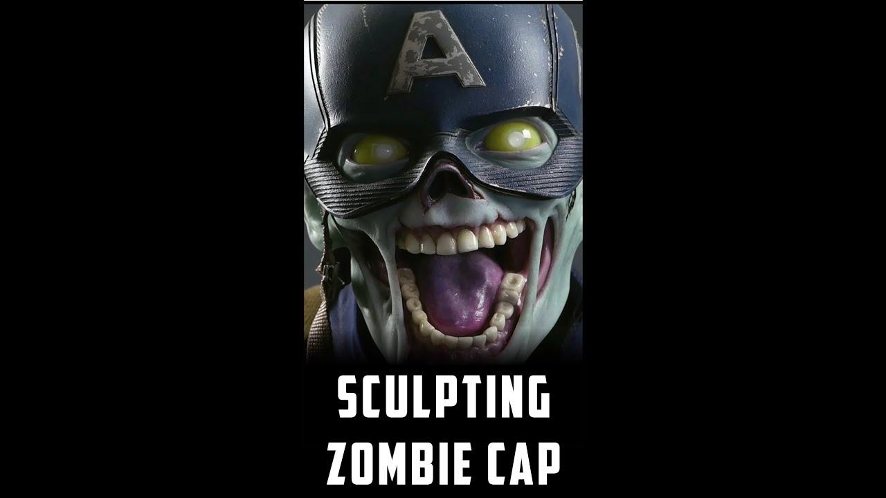 Zombie Captain America Sculpture Timelapse (Short Version) #shorts
