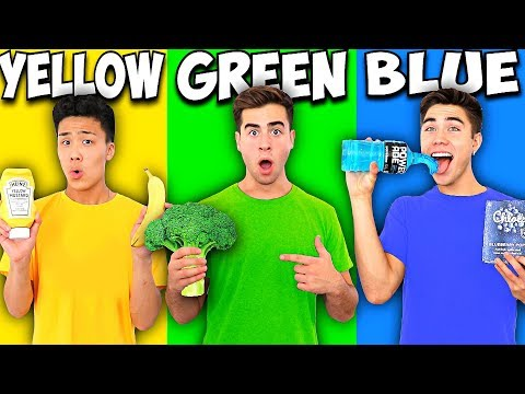EATING ONLY ONE COLORED FOOD FOR 24 HOURS.. (Rainbow Food Challenge)