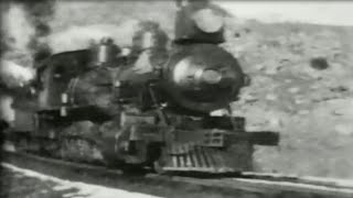 Two 4 8 0 Steam Engines Pull a Freight Train 1898 Old Railroad Video Footage