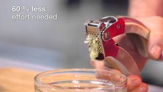 Kuhn Rikon epicurean garlic press demonstration