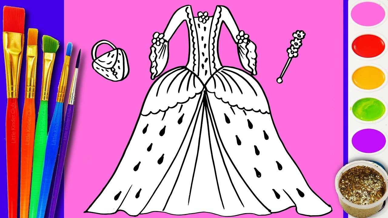 Coloring Pages Strawberry Barbie Dress Colouring Book Pages Videos