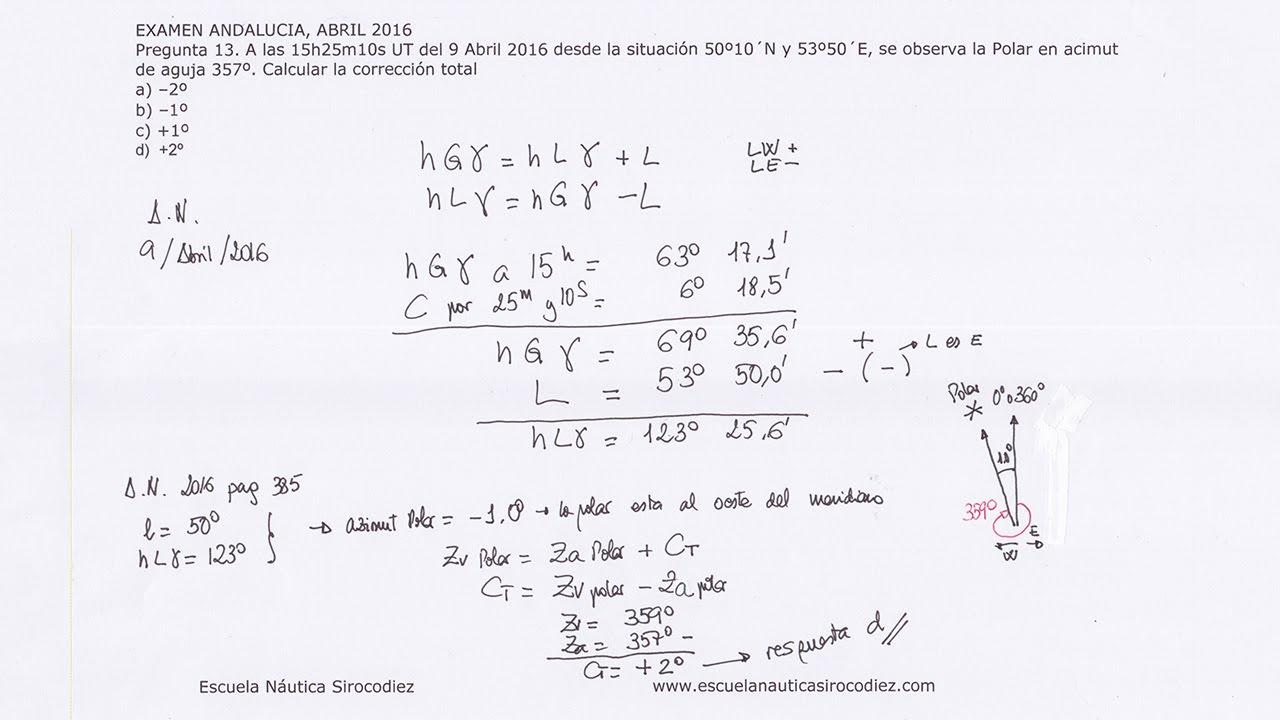 Examen resuelto calculo correcci n total azimut polar capit n yate andalucia abril 2016