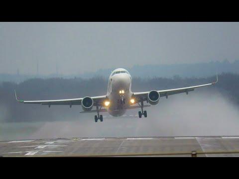 Plane Spotting at Düsseldorf | Crosswind Takeoffs & Landings | -Bad weather-
