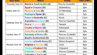 YouTube  Fifa World Cup 2018 Schedule & Best Time Table (Football 2018)