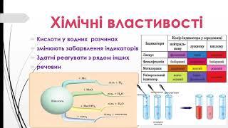 хімія 8 кл Властивості кислот