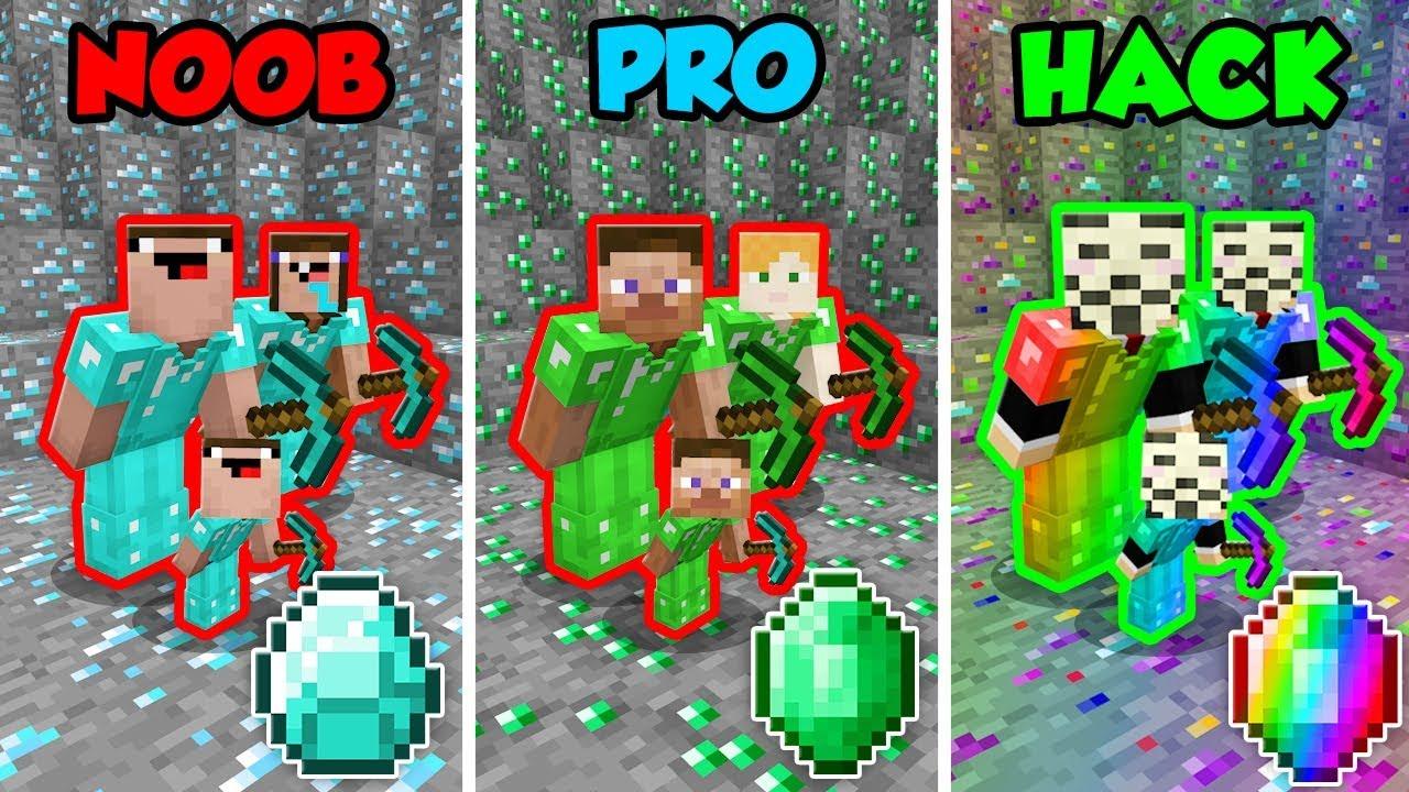 Minecraft NOOB vs  PRO vs  HACKER: FAMILY MINING CHALLENGE in Minecraft!  (Animation)