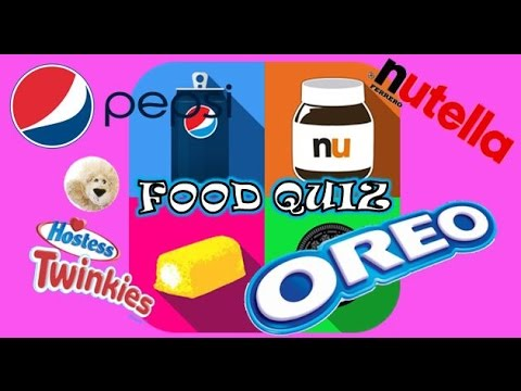 FOOD QUIZ GAME APP TRIVIA PLAY USA Brands Logos Snacks Cookies Chocolate Drinks Pepsi Nutella Oreo