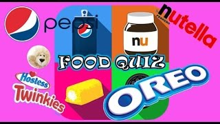 FOOD QUIZ GAME APP TRIVIA PLAY USA Brands Logos Snacks Cookies Chocolate Drinks Pepsi Nutella Oreo