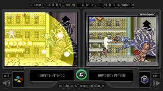 Contra III vs Contra Advance (SNES vs GBA) Side by Side Comparison (The Alien Wars EX Comparison)