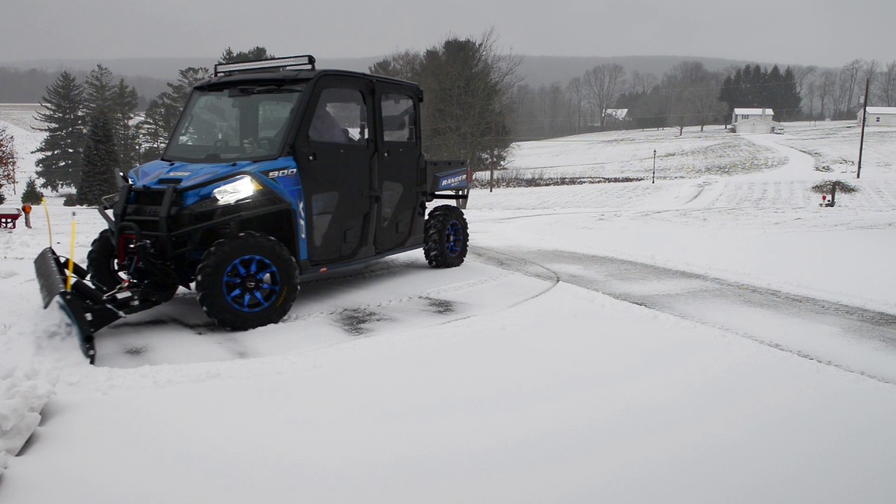 Polaris Ranger Crew With Plow Youtube