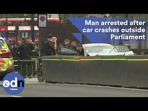 Man arrested after car crashes outside Parliament